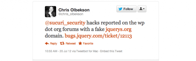 Fake jQuery Website Serving Redirection Malware