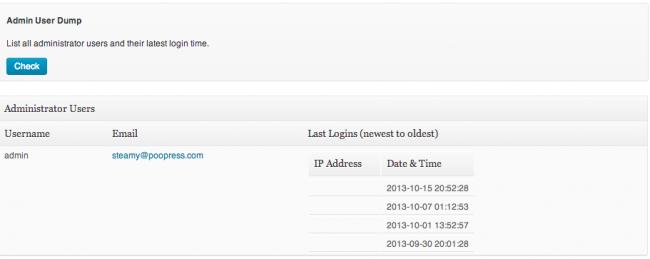 Sucuri WordPress Admin User Dump