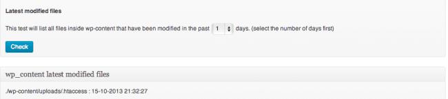 Sucuri WordPress Latest Modified Files