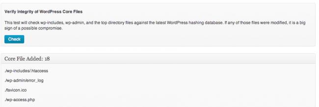 Sucuri WordPress Core Integrity Check