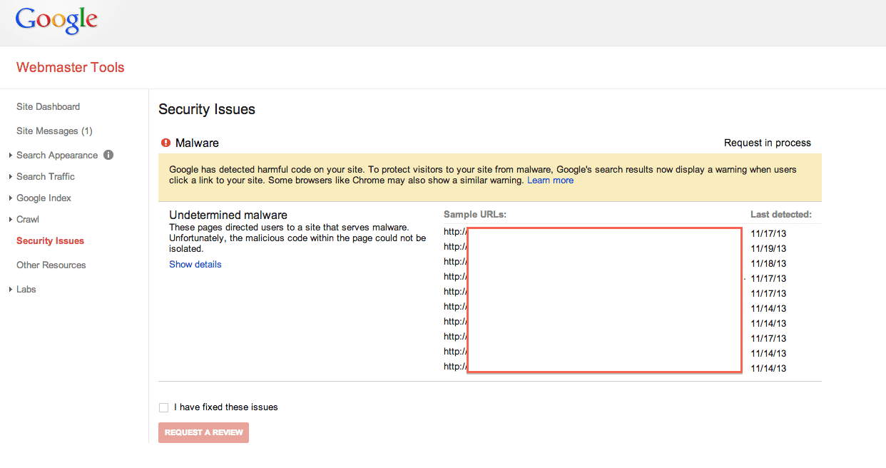Sucuri Google Blacklist Reqeust a Review