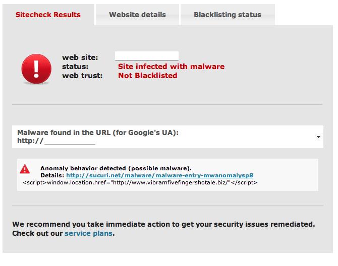 Sucuri SiteCheck ASP Malware