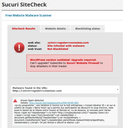 Sucuri SiteCheck Results