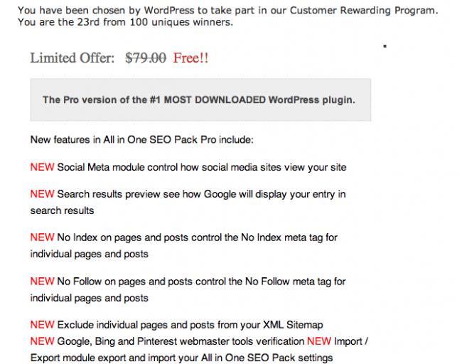 WordPress Plugin Phishing Email