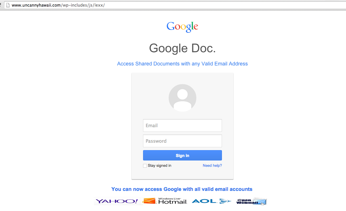 Gmail Phishing on wp-includes