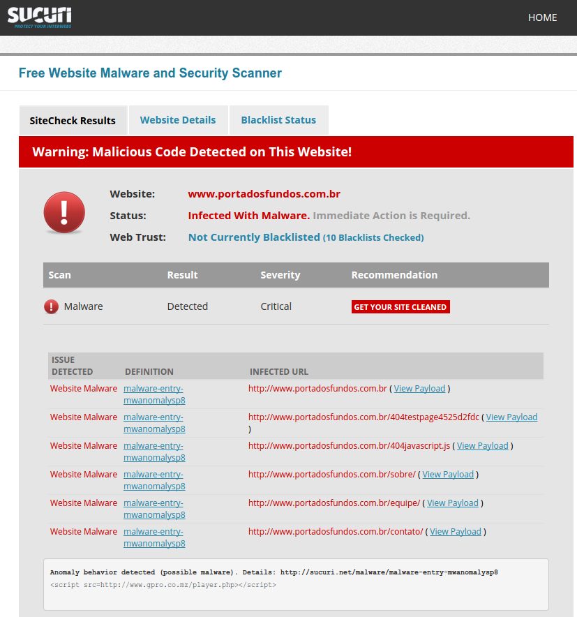 SiteCheck Found Malware on Porta dos Fundos