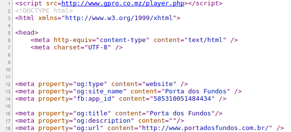 Injected Code on Website Porta dos Fundos