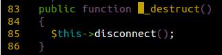 Destruct function code snippet