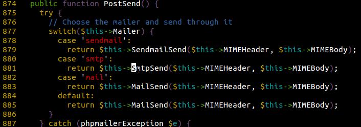 PostSend Fuction calls SmtpSend()