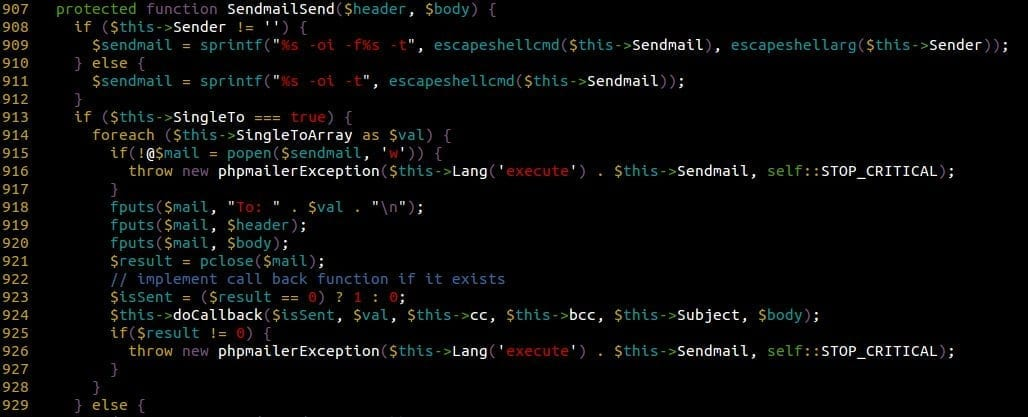 Sendmail Function