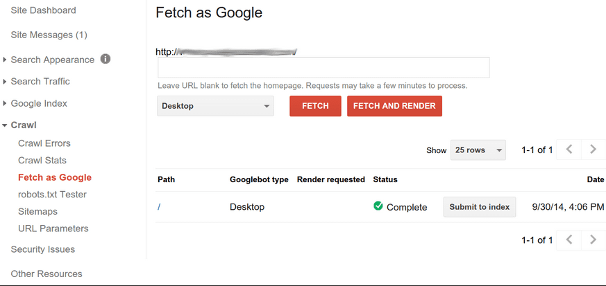 You can Fetch and Reindex from here