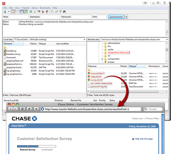Infected Joomla website, phishing with fake Chase Bank page