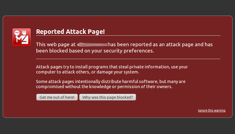 Reported attack page - Blacklisted