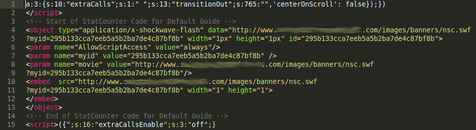 SWF infected the WP database