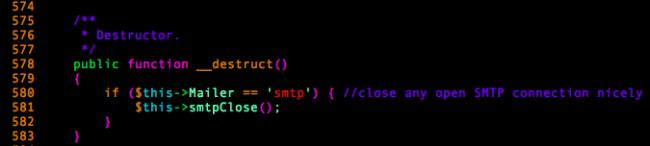 PHPMailer's __destruct method