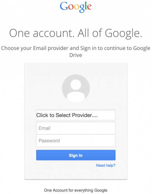 Fake Google Drive login form