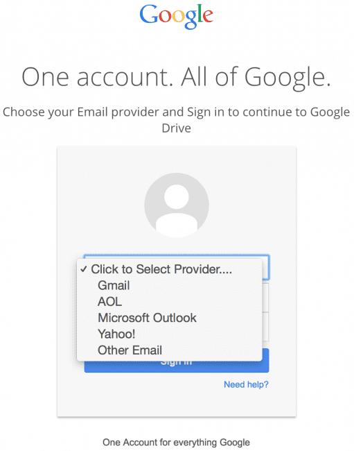 Non-Google emails in fake Google login form