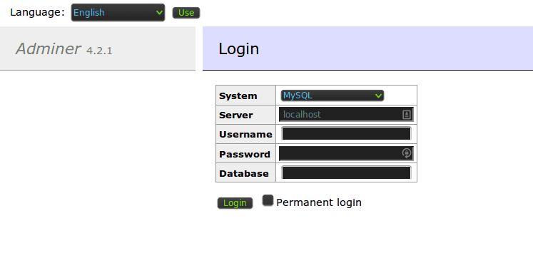 Log in to your database with adminer.php