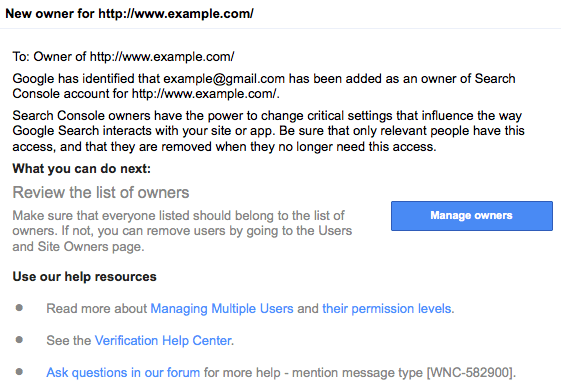 Search Console New Owner Notification