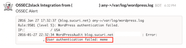User authentication error log from WordPress in OSSEC