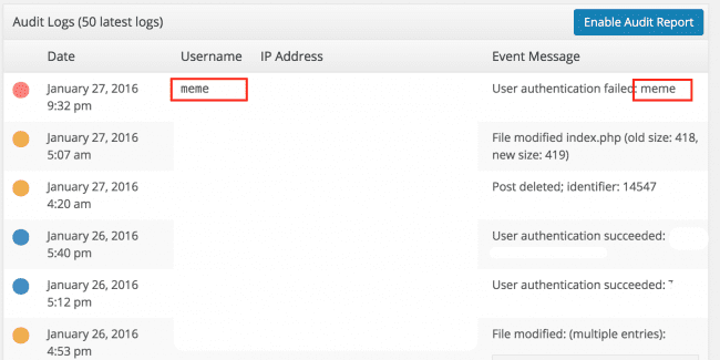 Audit logs in WordPress via Plugin