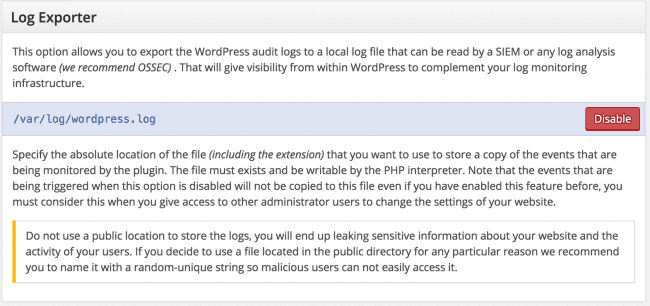WordPress security Log Exporter