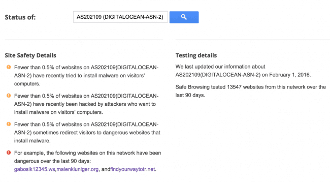 SafeBrowsing report for AS202109 (DIGITALOCEAN-ASN-2)