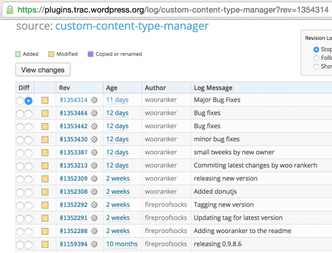 Últimas revisiones del plugin Custom Content Type Manager