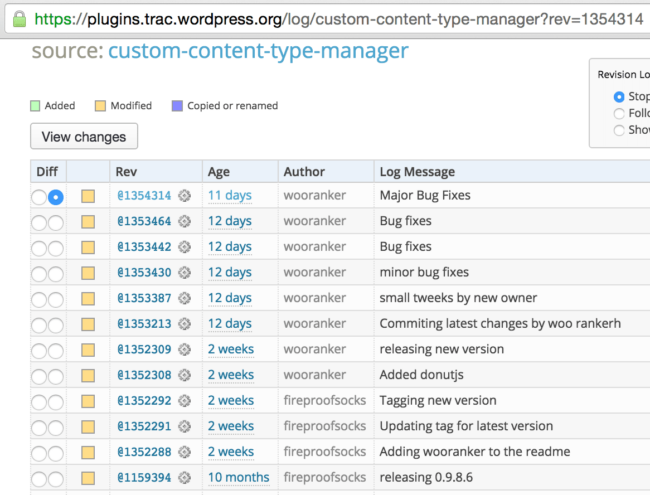 Latest revisions of the Custom Content Type Manager plugin