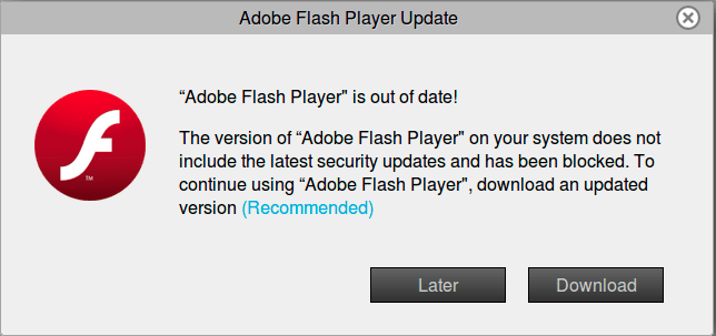 Fake Flash Player Update