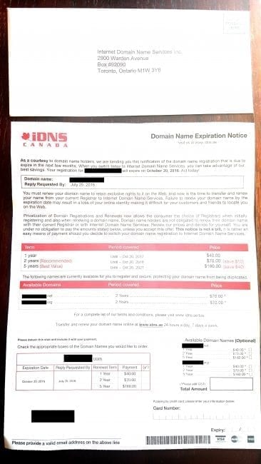 domain renewal scam letter