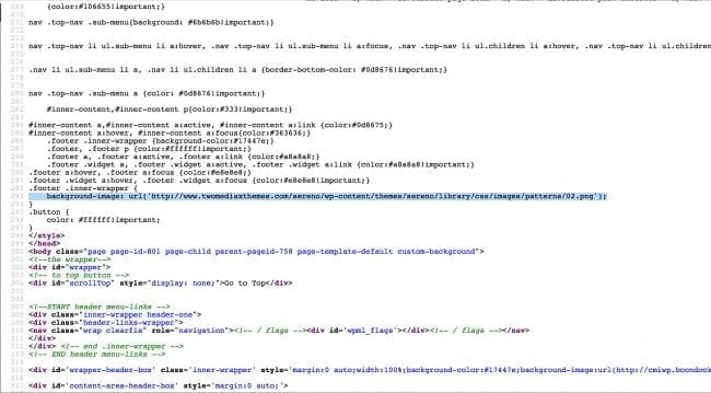 Imagen de código fuente de spam en un sitio web infectado