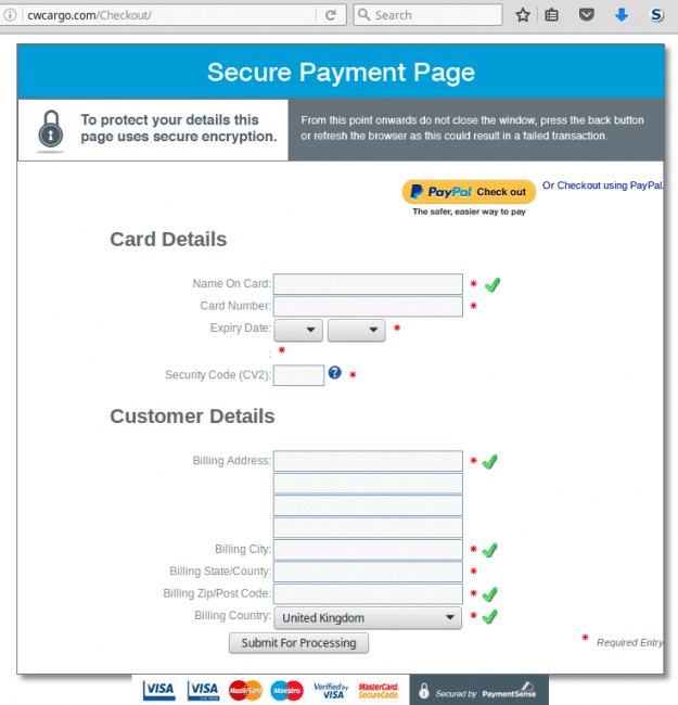 Phishing checkout page