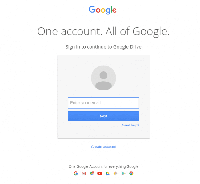 Phishing Google login page