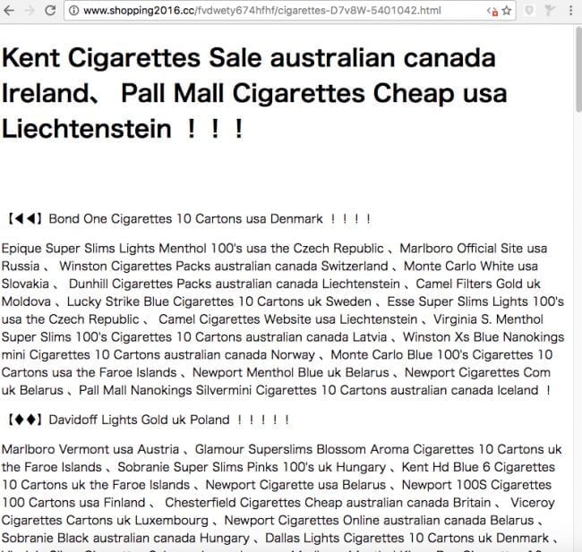 Cigarettes spam post from www[.]shopping2016[.]cc