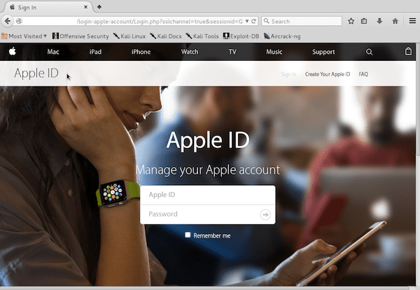 Página de Ataque de Apple ID - Phishing