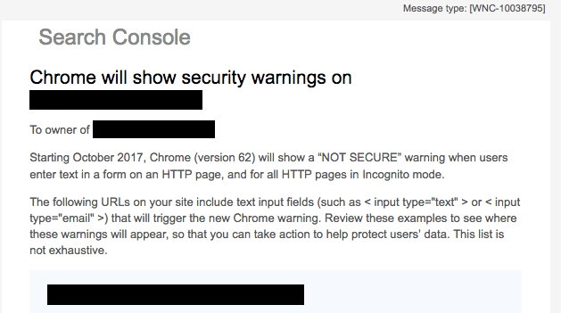 Email from Search Console to users of HTTP websites with unencrypted form input.