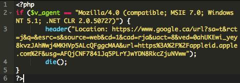 Snippet que Redireciona Agentes Usuários para Ataques de Phishing no Google