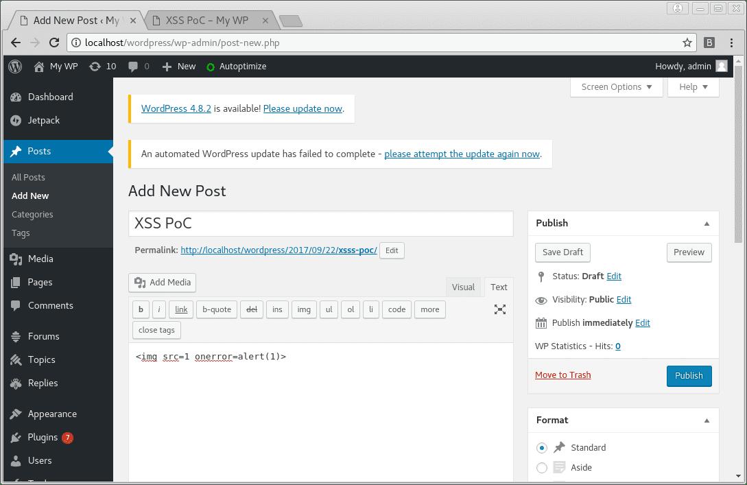 Stored Cross-Site Scripting Vulnerability in WordPress 4 8 1