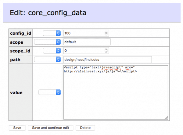tabela core_config_data