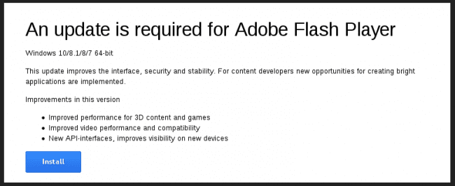 Fake Adobe Flash Player Update Banner
