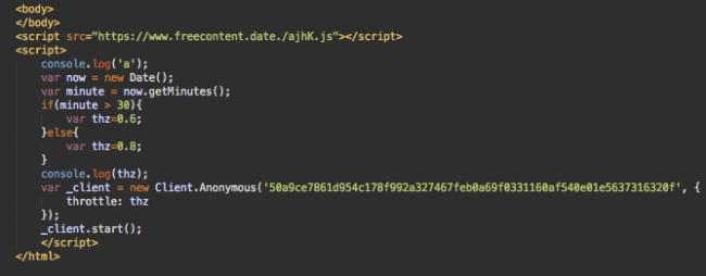 Criptominerador CoinImp no iframe falso do Google Analytics