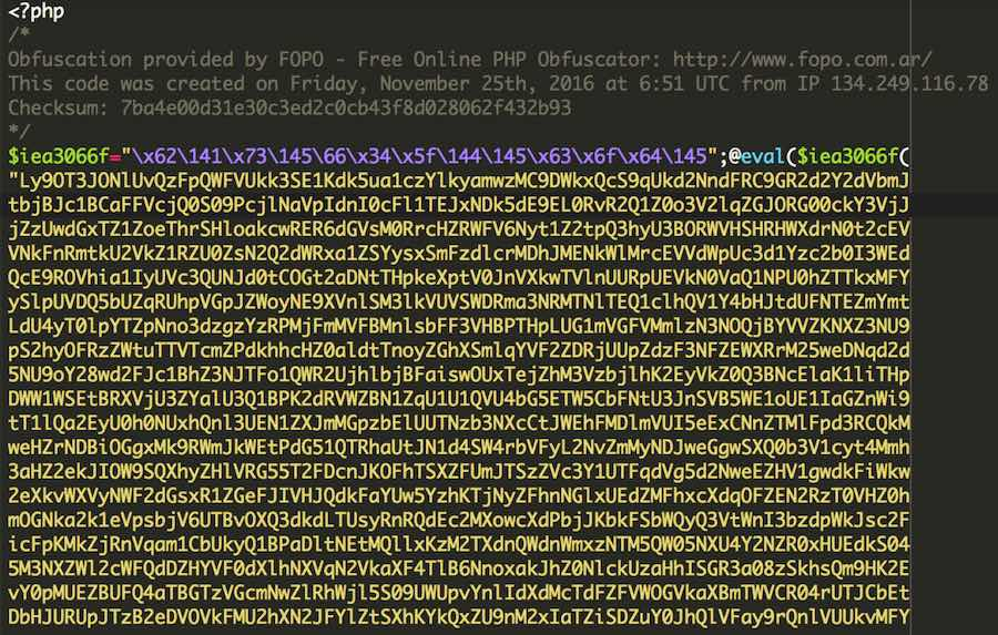 Obfuscated code that downloads malware from a website