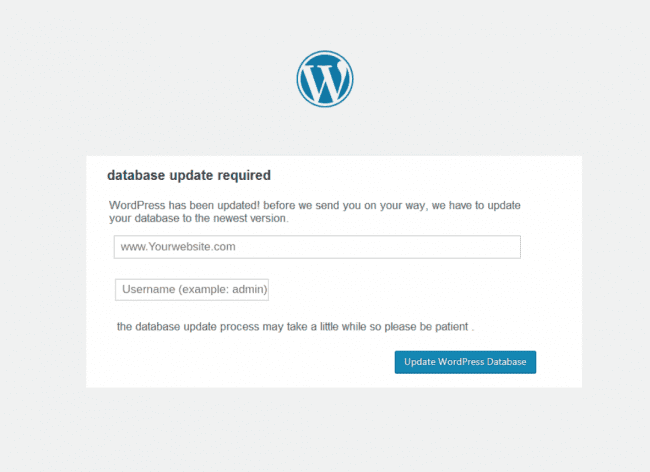 Database Upgrade Phishing Page