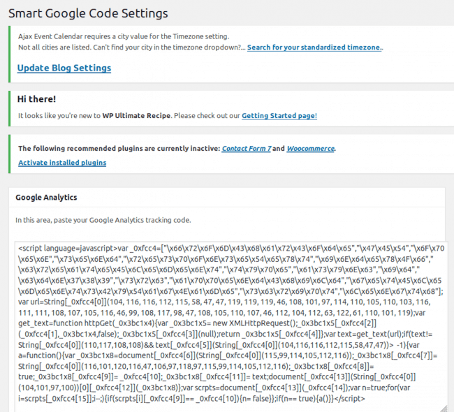 Ajustes de Smart Google Code