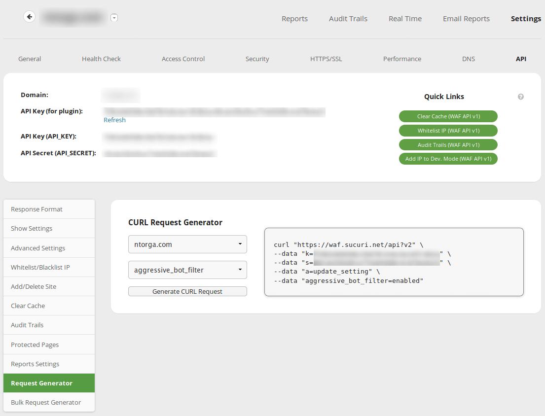 API Generator on the Sucuri Dashboard
