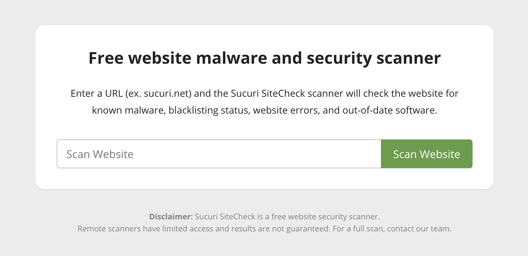SiteCheck - website malware scanner