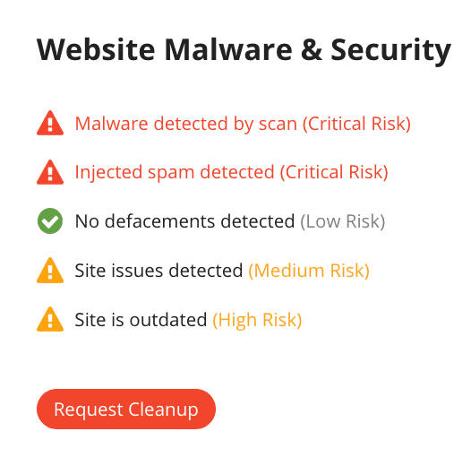Example of Malwre & Security Status
